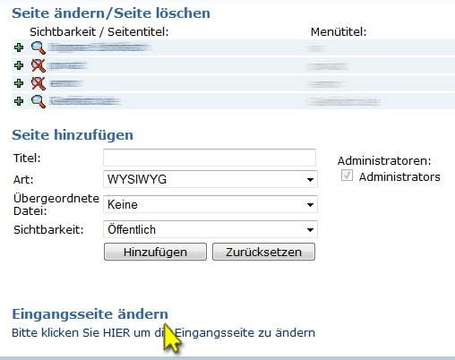"Websitebaker (Menüpunkt ""Eingangsseite editieren"")"