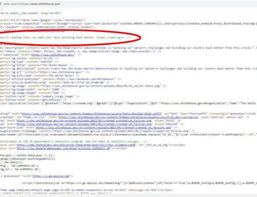 Aktuelle Stellenanzeige im Quellcode von Whitehouse.gov